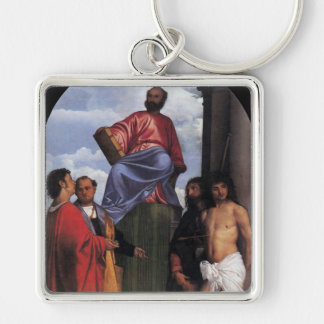 """""""St Mark Enthroned Llavero Cuadrado Plateado"""