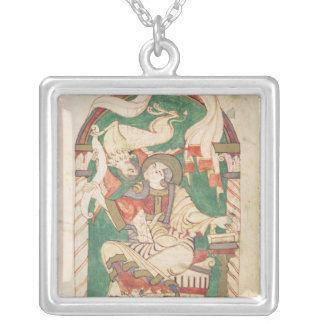 St. Mark, from a gospel from Corbie Abbey Square Pendant Necklace