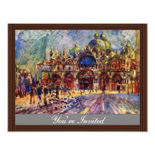 St. Mark'S Square In Venice By Pierre-Auguste 4.25x5.5 Paper Invitation Card