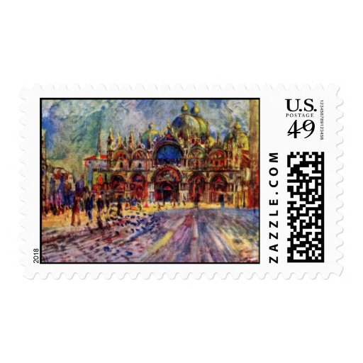 St. Mark'S Square In Venice By Pierre-Auguste Postage Stamp