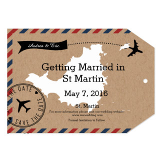 St Martin Airmail Luggage Tag Save Dates 5x7 Paper Invitation Card