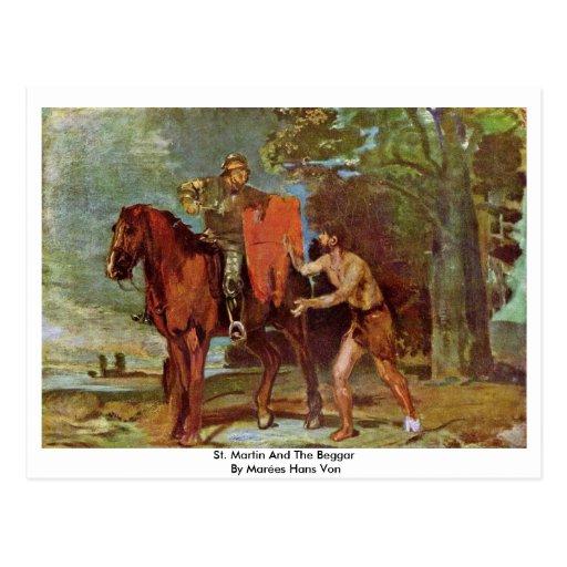 St. Martin And The Beggar By Marées Hans Von Postcard