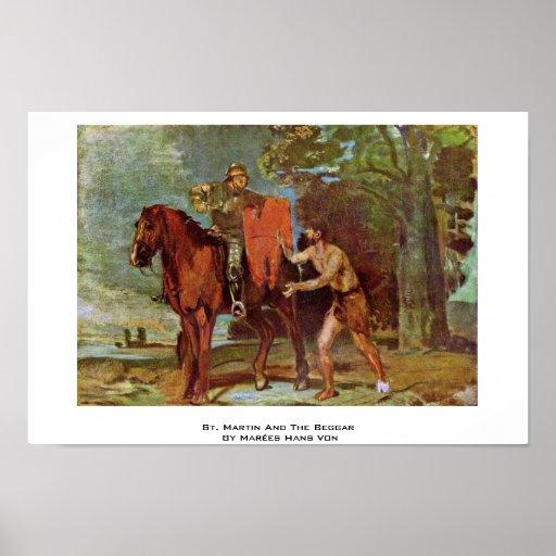 St. Martin And The Beggar By Marées Hans Von Poster