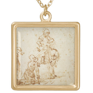 St. Martin and the Beggar (pen & ink on paper) Gold Plated Necklace