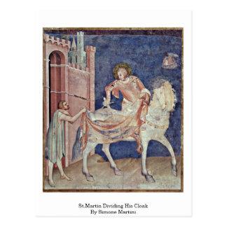 St.Martin Dividing His Cloak By Simone Martini Postcard