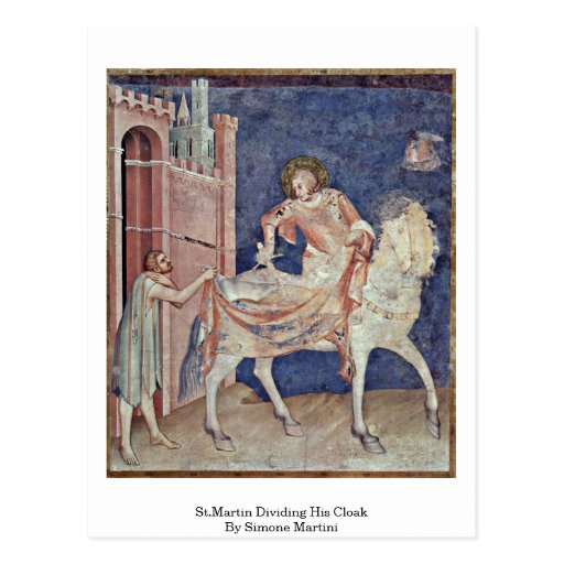 St.Martin Dividing His Cloak By Simone Martini Postcards