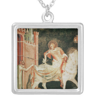 St. Martin sharing his cloak with the beggar Silver Plated Necklace