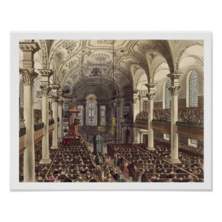 St Martins in the Fields, from 'Ackermann's Microc Poster