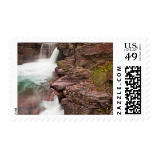 St Mary Falls in Glacier National Park in Postage Stamp