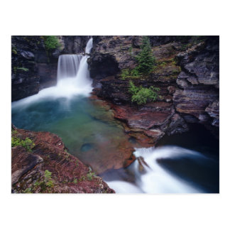 St Mary Falls in Glacier National Park in Postcard