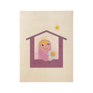 St. Mary Jesus on wood Wood Poster