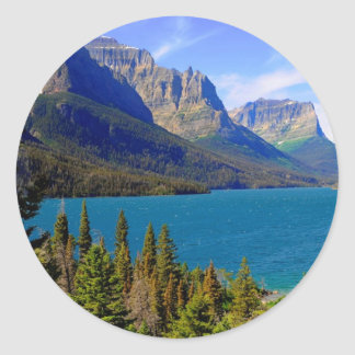 St. Mary Lake,  Glacier National Park,  Montana Classic Round Sticker