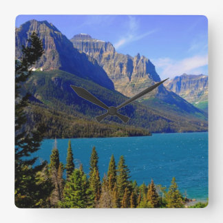 St. Mary Lake,  Glacier National Park,  Montana Square Wallclock