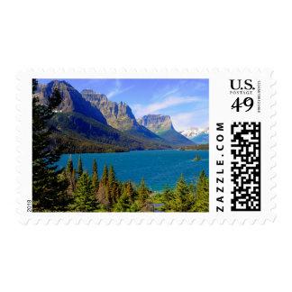 St. Mary Lake,  Glacier National Park,  Montana Postage Stamp