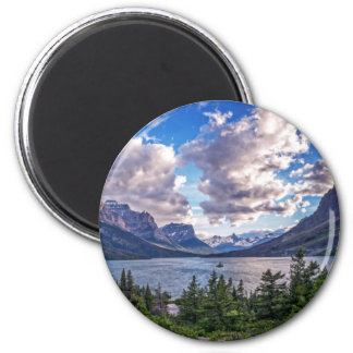 St. Mary Lake Sunset 2 Inch Round Magnet