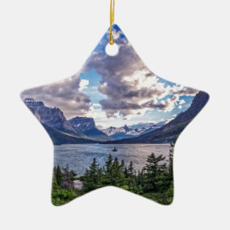 St. Mary Lake Sunset Ceramic Ornament