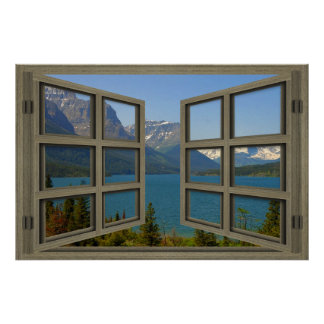 St Mary Lake Through An Open Window Poster