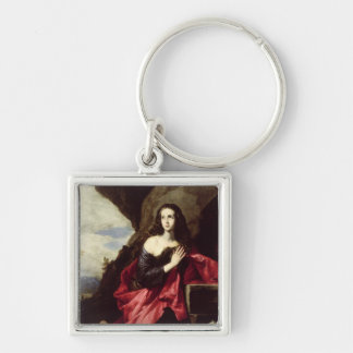 St. Mary Magdalene or St. Thais in the Desert Silver-Colored Square Keychain