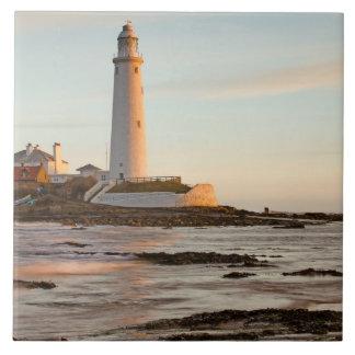 St Mary's Lighthouse England Tile/Trivet Large Square Tile