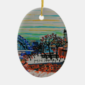 St Mary's and the Tyne Bridge in winter Ceramic Ornament