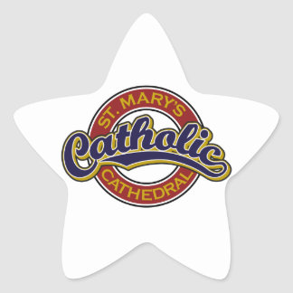 St. Mary's Catholic Cathedral Blue on Red Star Sticker