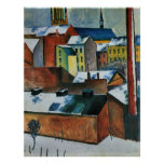 St. Mary's Church in the snow by August Macke Poster
