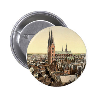 St. Mary's, from St. Peter's Clock Tower, Lubeck, Pinback Button