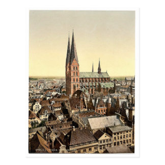 St. Mary's, from St. Peter's Clock Tower, Lubeck, Postcard