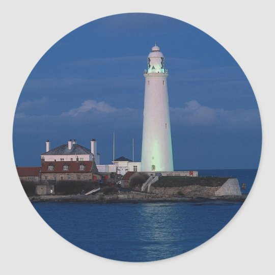 St. Mary's Lighthouse, Whitely Bay, Tyne and Wear, Classic Round Sticker