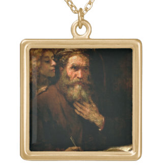 St. Matthew and The Angel, 1655-60 (oil on canvas) Square Pendant Necklace