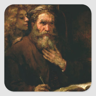 St. Matthew and The Angel, 1655-60 (oil on canvas) Square Stickers