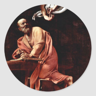 St. Matthew And The Angel By Michelangelo Merisi Round Sticker