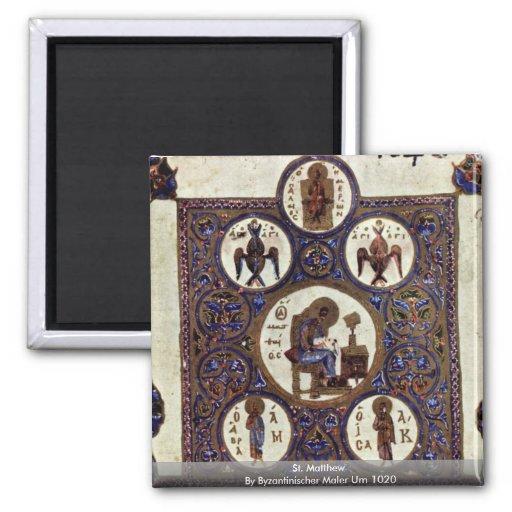 St. Matthew By Byzantinischer Maler Um 1020 2 Inch Square Magnet