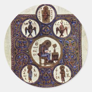 St. Matthew By Byzantinischer Maler Um 1020 Round Stickers