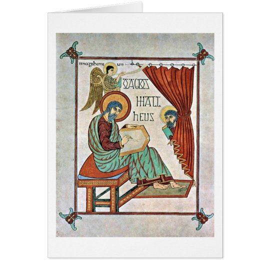 St. Matthew By Master Of The Book Of Lindisfarne Card