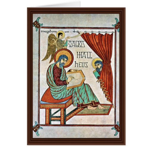 St. Matthew By Meister Des Book Of Lindisfarne (Be Greeting Card