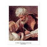 St Matthew el evangelista y el ángel Postal