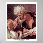 St Matthew el evangelista y el ángel Poster