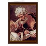 St Matthew el evangelista y el ángel Tarjeton
