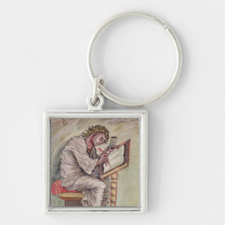 St. Matthew, from the Ebbo Gospels Silver-Colored Square Keychain