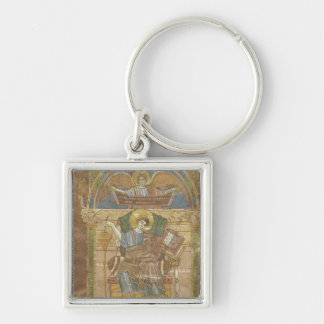St. Matthew, from the Gospel of St. Riquier Silver-Colored Square Keychain