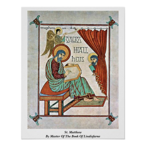 St Matthew por el amo del libro de Lindisfarne Posters