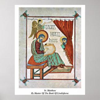 St Matthew por el amo del libro de Lindisfarne Póster