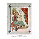 St Matthew por el amo del libro de Lindisfarne Postal