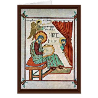 St Matthew por el libro del DES de Meister de Lind Tarjeta De Felicitación