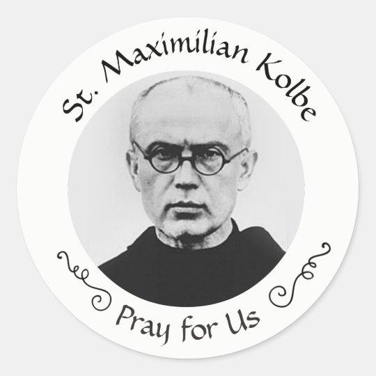 a27a4cca St. Maximilian Kolbe Catholic Martyr Classic Round Sticker | Zazzle.com