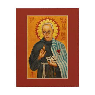 "St. Maximilian Kolbe Wood Print Icon 8""x10"""