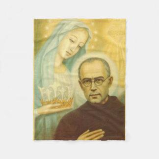 St. Maximillian Kolbe con Virgen María y la corona Manta Polar