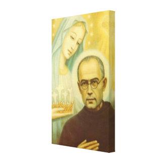 St. Maximillian Kolbe with Virgin Mary & Crown Canvas Print