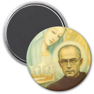 St. Maximillian Kolbe with Virgin Mary & Crown Magnet
